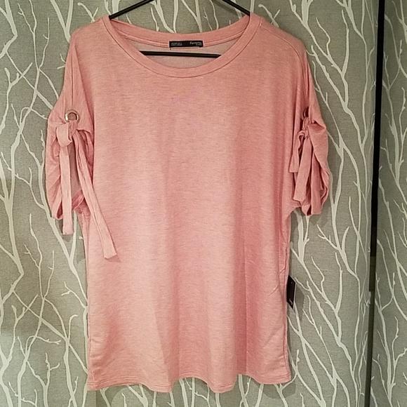 5ee10d13673 Femme by Tresics Crew Neck Pink Shirt